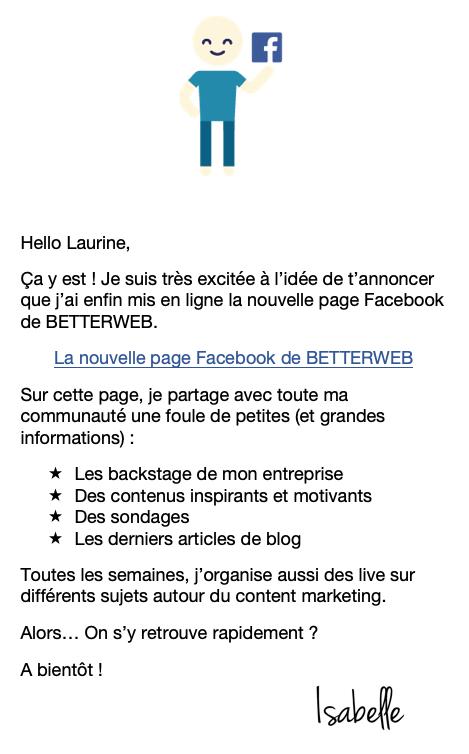 pour recruter de nouveaux fans sur facebook, tu peux aussi envoyer une newsletter à tous tes abonnés