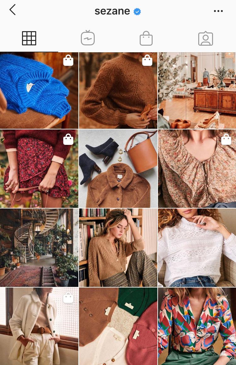 Capture d'écran du profil Instagram de la marque de vêtements parisienne Sézane