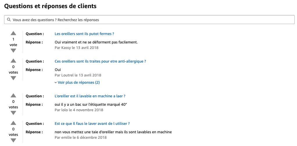 fiche produit Amazon questions et réponses des clients