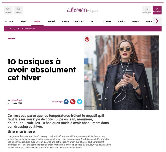 Un exemple de native advertising publié sur le site web Aufeminin pour la marque C&A