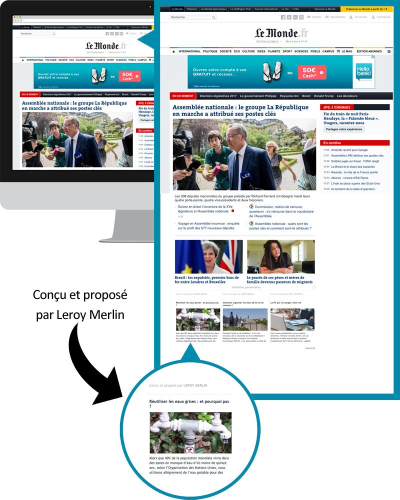 le native advertising sur les grands médias d'information