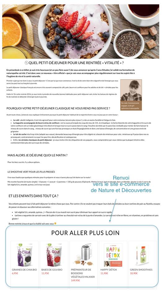 Le blog de Nature et Découvertes a clairement défini un objectif pour cet article de blog